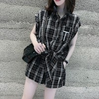 Shirt Collar Printed Waist Strap Blouse Top - Black