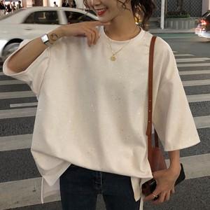 Glittery Loose Wear Women Fashion Blouse Top - White