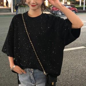 Glittery Loose Wear Women Fashion Blouse Top - Black