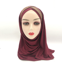 Glittery Patched Sober Muslim Wear Head Scarf - Red