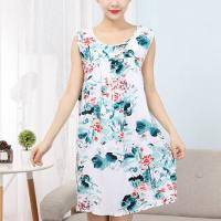 Printed Floral Elegant Sleeveless Mini Dress - Green