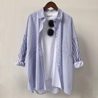 Shirt Collar Full Sleeves Formal Women Fashion Shirt - Blue