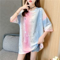 Multicolor Unicorn Gradient Printed Women Fashion Blouse Top - Pink