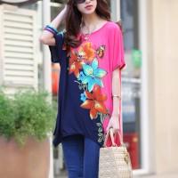 Floral Printed Irregular Round Neck Loose Wear Dress - Multicolor