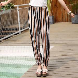 Stripes Printed Narrow Bottom Beach Wear Trouser - Black Multicolor