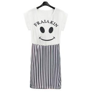 Mostache Printed Stripes Mini Dress - White Black