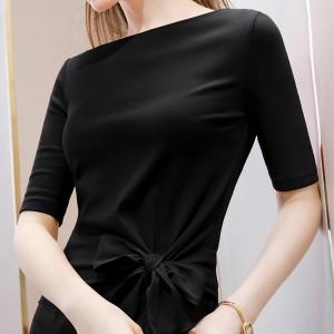 Slash Neck Knotted Style Short Sleeved Solid Color Top - Black