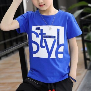 Round Neck Printed Alphabetic Casual T-Shirt - Blue