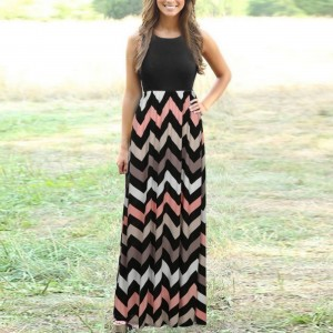 Geometric Printed Deep Round Neck Sleeveless Full Maxi Dress - Black Pink