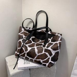 X Large Size Ladies Fashion Shoulder Bag - Black and White