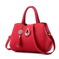 Medium Size Women Leather Fashion Shoulder Bag Tassel - Red