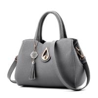 Medium Size Women Leather Fashion Shoulder Bag Tassel - Gray
