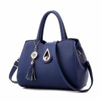 Medium Size Women Leather Fashion Shoulder Bag Tassel - Dark Blue