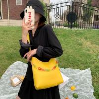 Medium Size Ladies Fashion Bucket Crossbody Bag - Yellow