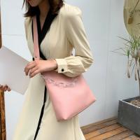 Medium Size Ladies Fashion Bucket Crossbody Bag - Pink