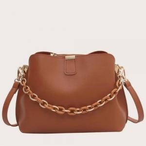 Retro Medium Size Woman Fashion Crossbody Bag - Brown