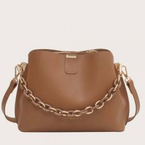 Retro Medium Size Women Fashion Crossbody Bag - Brown
