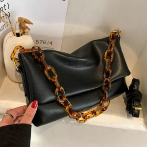 Medium Size Women Fashion Chain Crossbody Bag - Black