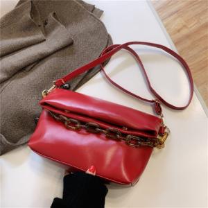 Medium Size Women Fashion Chain Crossbody Bag - Red
