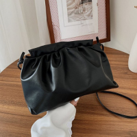 Small Size Woman Dumpling Fashion Crossbody Messenger Bag - Black