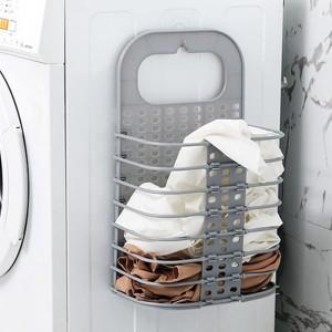 Foldable Wall Hanging Bathroom Laundry Basket - Gray