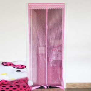 High Quality Magnetic Anti Mosquito Net Door Curtain - Pink