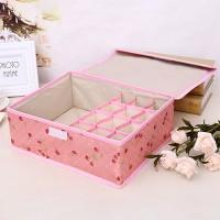 Portable Storage Box Organizer 13 Grid Drawer For Socks Bra and Underwear - Pink