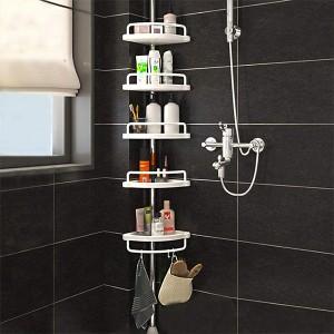Five Tiers Fancy Corner Bathroom Storage Rack - White