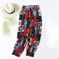 Digital Printed Elastic Waist Closure String Casual Wear Trouser - Multi Color
