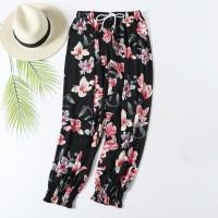 Floral Printed Elastic Waist Closure String Casual Wear Trouser - Black
