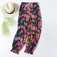 Fancy Flower Prints Elastic Waist Closure String Casual Wear Trouser - Blue Pink