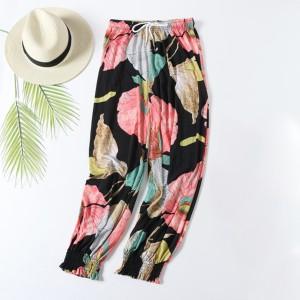 Creative Flower Printed Elastic Waist Closure String Casual Wear Trouser - Black Pink