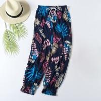 Trendy Leaf Prints Closure String Trouser For Women - Black Blue