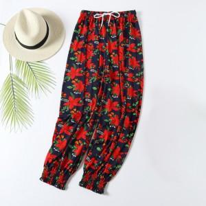 Leaf Prints Cotton Blend Closure String Women Trouser - Black Red