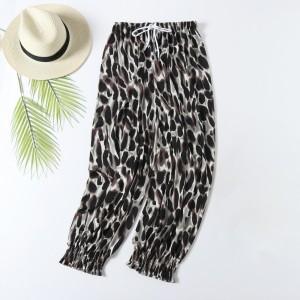 Stylish Leopard Prints Closure String Casual Wear Women Trouser - Khaki Black