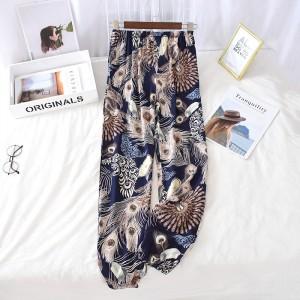 Creative Flower Printed Elastic Waist Closure String Casual Wear Trouser
