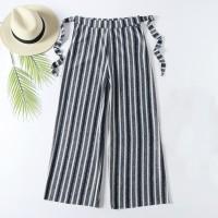 Stripes High Waist Wide Leg Comfy Wear Trouser For Women - Gray