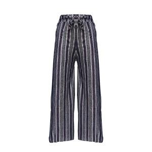 Stripes High Waist Wide Leg Comfy Wear Trouser For Women - Blue Black