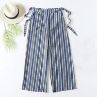 Stripes High Waist Wide Leg Comfy Wear Trouser For Women - Blue