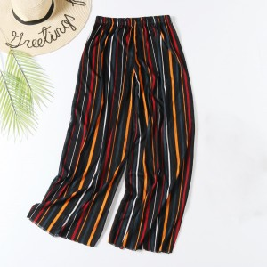 Stylish Colorful Stripes Fashion Elastic Waist Women Trouser - Wine Red