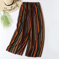 Stylish Colorful Stripes Fashion Elastic Waist Women Trouser - Orange