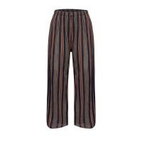Stylish Colorful Stripes Fashion Elastic Waist Women Trouser - Brown