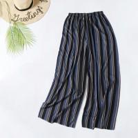 Stylish Colorful Stripes Fashion Elastic Waist Women Trouser - Black Blue