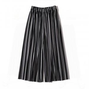 Stylish Colorful Stripes Fashion Elastic Waist Women Trouser - Black and White