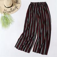 Stylish Colorful Stripes Fashion Elastic Waist Women Trouser - White Red