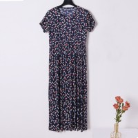 Creative Dotted Print Round Neck Short Sleeves Loose Dress - Black