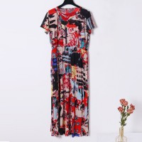 Geometric Pattern Round Neck Short Sleeves Loose Dress - Multi Color