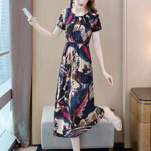 Digital Printed Round Neck Short Sleeves Midi Dress - Dark Blue