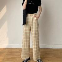 Stylish Plaid Pattern Wide Leg Casual Wear Trouser For Women - Apricot