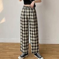Stylish Plaid Pattern Wide Leg Casual Wear Trouser For Women - Black